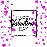 Valentines day card with pink glitter hearts. February 14th. Vector confetti for valentines day card template. Grunge Royalty Free Stock Photo