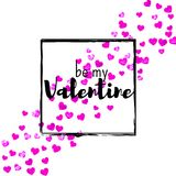 Valentines day card with pink glitter hearts. February 14th. Vector confetti for valentines day card template. Grunge Stock Photos