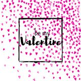 Valentines day card with pink glitter hearts. February 14th. Vector confetti for valentines day card template. Grunge Royalty Free Stock Image