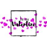 Valentines day card with pink glitter hearts. February 14th. Vector confetti for valentines day card template. Grunge Stock Image