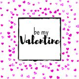 Valentines day card with pink glitter hearts. February 14th. Vector confetti for valentines day card template. Grunge Royalty Free Stock Photography