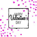 Valentines day card with pink glitter hearts. February 14th. Vector confetti for valentines day card template. Grunge Royalty Free Stock Photos
