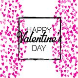 Valentines day card with pink glitter hearts. February 14th. Vector confetti for valentines day card template. Grunge. Hand drawn texture. Love theme for poster Royalty Free Stock Photos