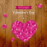 Valentines day card with pink rose petals Royalty Free Stock Photo