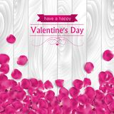 Valentines day card with pink rose petals Royalty Free Stock Photography