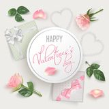 Valentines Day card with pink roses. Valentines Day white round banner with pink photo realistic roses, petals, hearts, gifts with bows and hand written font Royalty Free Stock Images