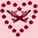 Valentines day card with planes and flower heart Royalty Free Stock Photography