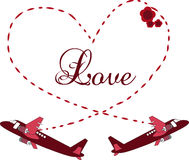 Valentines day card with planes Stock Photography