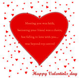 Valentines day card with poem. On the heart Stock Images