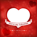 Valentines Day card, poster. Design with place for text. Bright red web banner template design stock illustration