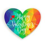 Valentines Day card with rainbow colors heart on white background. Vector illustration, design element for stock image
