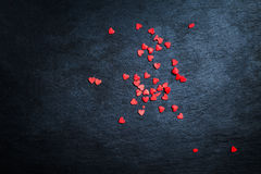 Valentines Day Card - Red and black Background With Ornaments, H Stock Photography