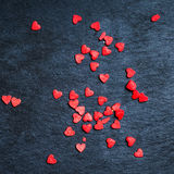 Valentines Day Card - Red and black Background With Ornaments, H Stock Images