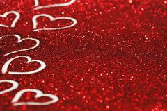 Valentines day card. Red glitter Valentines day card with hearts Stock Photo