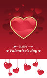 Valentines day card with red heart Royalty Free Stock Photo