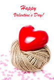 Valentines Day Card with Red Heart  on white background closeup. Stock Image