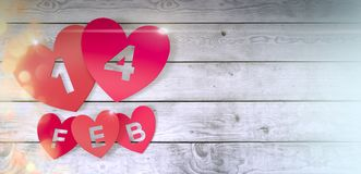 Valentines day card. Red paper hearts with text; 14 feb on wooden floor, valentines card 3d render Royalty Free Stock Images