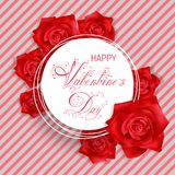 Valentines Day card with red roses. Valentines Day banner with red photo realistic roses and beautiful hand lettering calligraphy text Valentines Day. Red Stock Photography