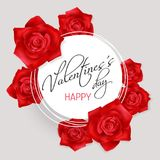 Valentines Day card with red roses. Valentines Day white round banner with red photo realistic roses and hand lettering calligraphy text Valentines Day.on a Royalty Free Stock Photos