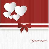 Valentines day card. On red-white background with paper heart Stock Image