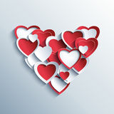 Valentines day card with red and white 3d hearts Stock Image