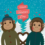 Valentines day card with romantic couple monkeys.Vector illustration Stock Image