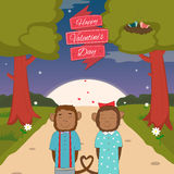 Valentines day card with romantic couple monkeys. Vector illustration Stock Images