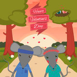 Valentines day card with romantic couple mouse boy and girl. Vector illustration.  Royalty Free Stock Photos
