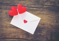Valentines day card romantic / Envelope love mail Valentine Letter Card with Red Heart Love concept stock photography