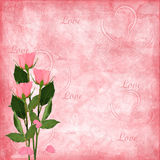 Valentines day card with rose Stock Photography