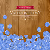 Valentines day card with rose blue petal Royalty Free Stock Photo