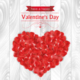 Valentines day card with rose petals in a shaped of a heart Stock Photography