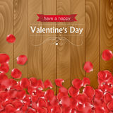 Valentines day card with rose petals Stock Image