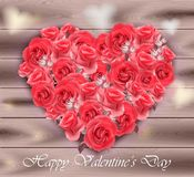 Valentines day card. Roses heart on wood background Vector. Illustration Royalty Free Stock Photos