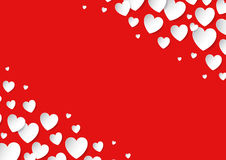 Valentines Day card with scattered vector paper hearts on red background. Copy space Stock Photography