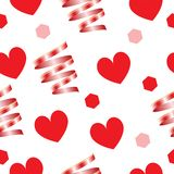 Valentines day card - seamless pattern vector - red hearts and ribbons. Valentines day card - seamless pattern vector Royalty Free Stock Image