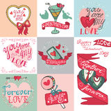 Valentines day card set. Royalty Free Stock Images