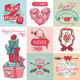 Valentines day card set. Valentines day,romantic elements collection Stock Photo
