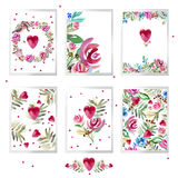 Valentines day card set. watercolor Valentines day Design. Stock Image