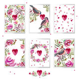 Valentines day card set. watercolor Valentines day Design. Stock Photo