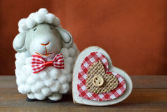 Valentines Day card with sheep toy and heart Royalty Free Stock Photo