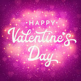 Valentines Day card with shiny bokeh blurred heart Stock Images