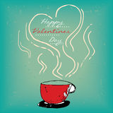 Valentines day card with steamy red cup Royalty Free Stock Image