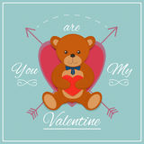 Valentines day card with teddy bear. Vector illustration. Valentines day card with teddy bear Royalty Free Stock Image