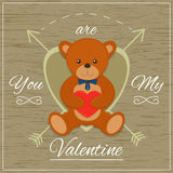 Valentines day card with teddy bear. Vector illustration. Valentines day card with teddy bear Royalty Free Stock Photo