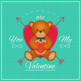 Valentines day card with teddy bear. Vector illustration. Valentines day card with teddy bear. Vector Stock Images