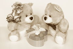 Valentines Day Card - Teddy Bears : Stock Photos. Valentines Day Card : Teddy Bears couple with gift box royalty free stock images