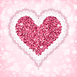 Valentines day card. Template. Vector illustration with a lace frame and a heart made of sparkling confetti Royalty Free Stock Photo