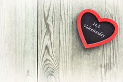 Valentines day card with text on heart. Royalty Free Stock Photography