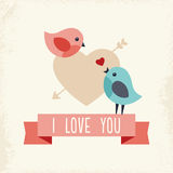 Valentines Day card with two love birds. Sweet retro greeting card for Valentines Day with two cute love birds and ribbon banner Royalty Free Stock Photos